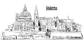 Old City Valletta Night Stock Illustrations.