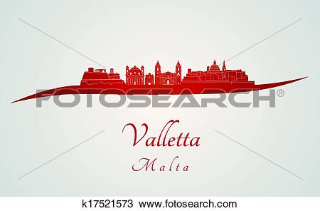 Clipart of Valletta skyline in red k17521573.