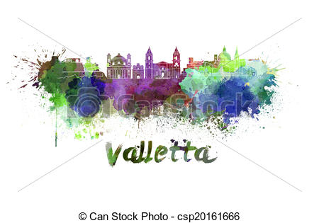 Stock Illustration of Valletta skyline in watercolor splatters.