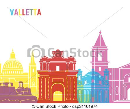Vectors Illustration of Valletta skyline pop in editable vector.
