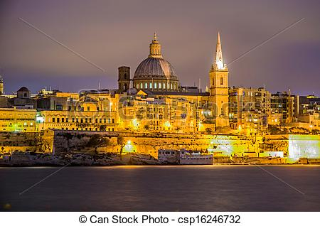 Stock Photos of Valletta seafront skyline view, Malta.