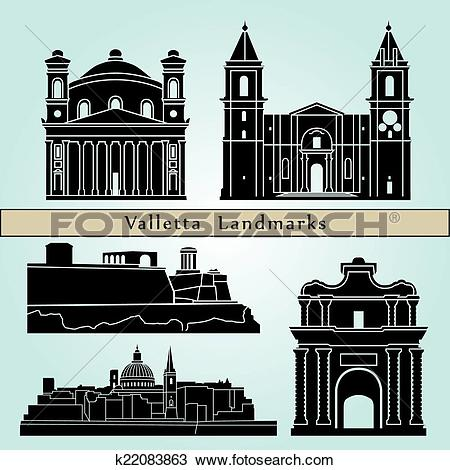 Clipart of Valletta landmarks and monuments k22083863.