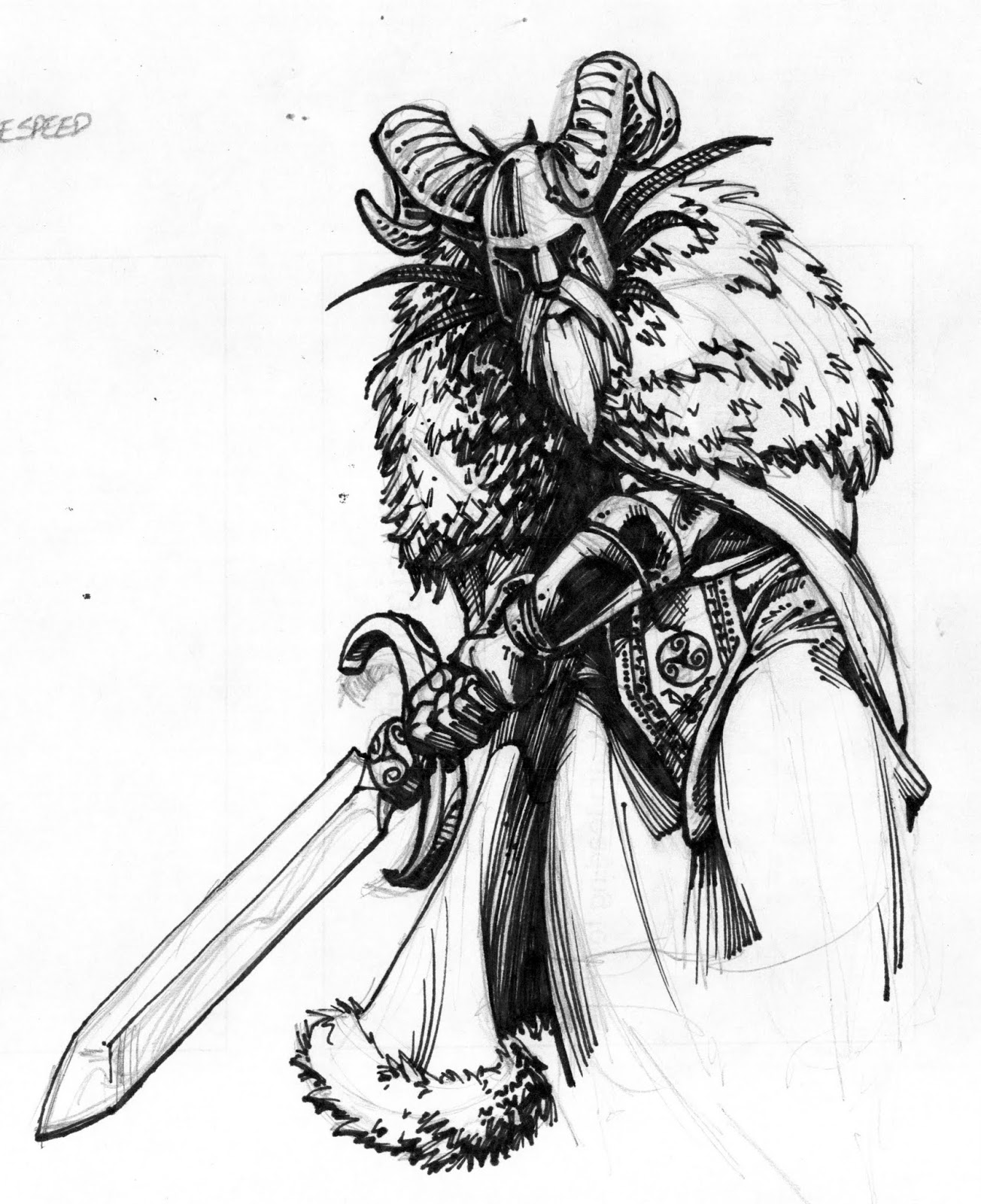 sketchbook clipart free: Ready for Valhalla a long time ago.