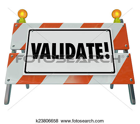 Stock Illustration of Validate Word Barricade Verify Truth Status.