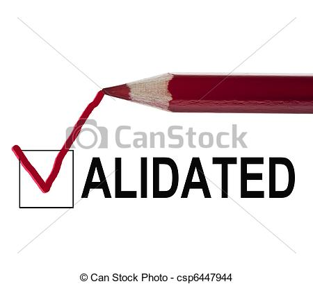 Stock Photo of Validated message and red pencil csp6447944.