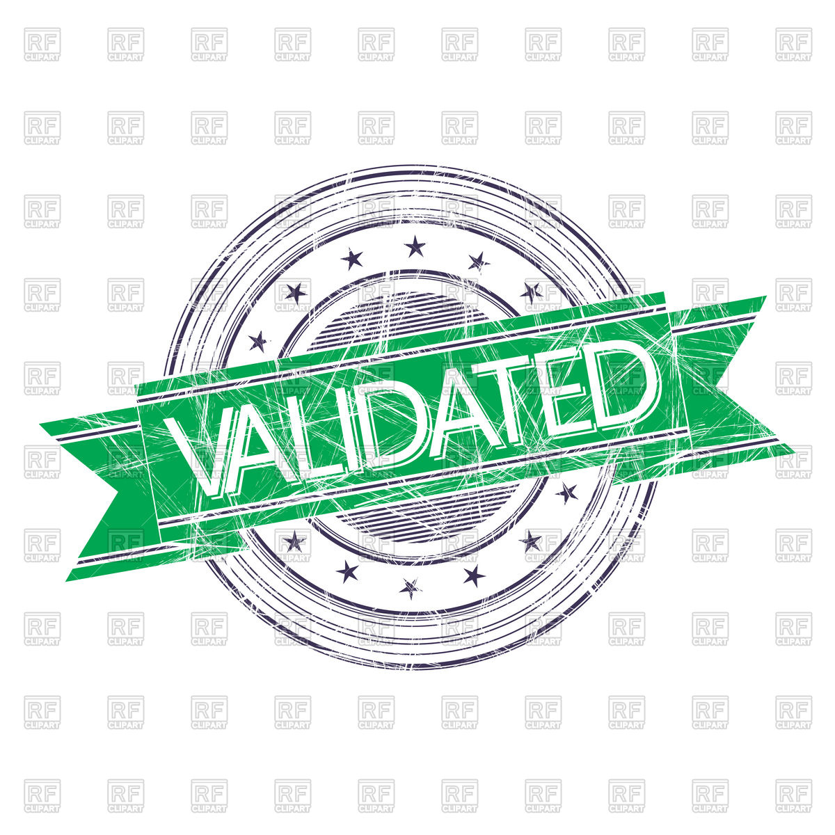 Validated grunge rubber stamp on white background Vector Image.