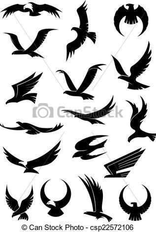 Vector Clipart van adelaar, iconen, vliegen, Vector, valk, havik.