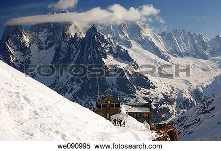 Stock Image of Mountain hut Refuge du Requin in the Vallee Blanche.