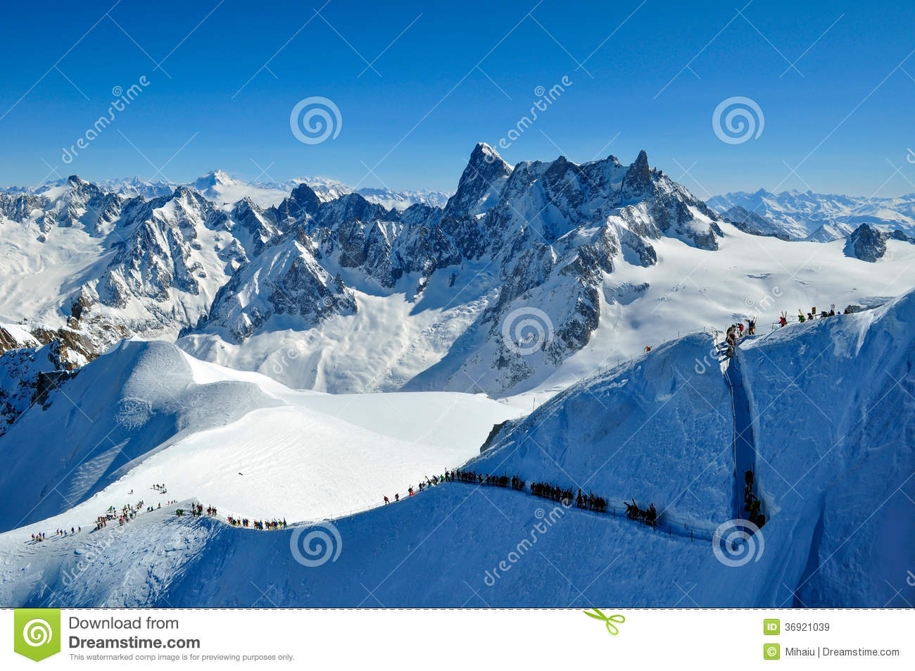 Skiers Heading For Vallee Blanche Royalty Free Stock Images.