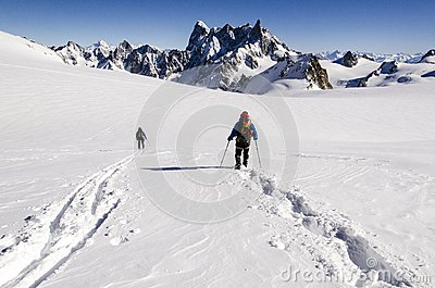 Skiers On Vallee Blanche Royalty Free Stock Image.