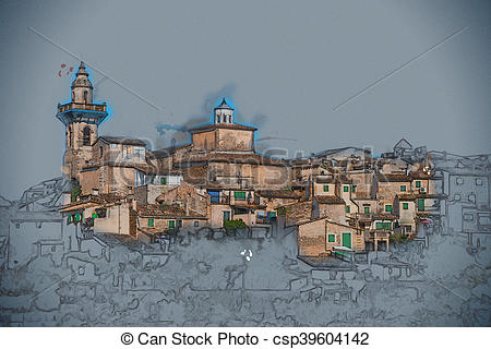 Drawing of Beautiful view of the small town Valldemossa situated.