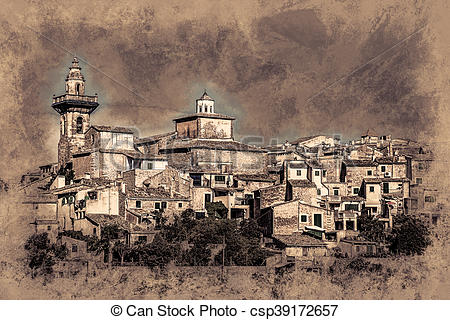 Stock Illustrations of Beautiful view of the small town.