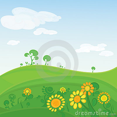 Spring Tree Blossom Sunshine Sky Background Stock Illustrations.