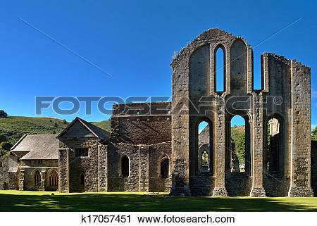 Stock Photography of Valle Crucis Abbey at Llantysilio k17057451.