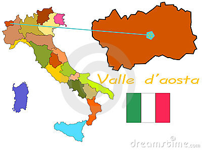 Map Of Italy Valle D'Aosta Royalty Free Stock Images.