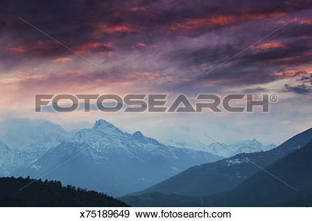 Stock Photograph of Italy, Valle d'Aosta, Pila, alpine scenic.