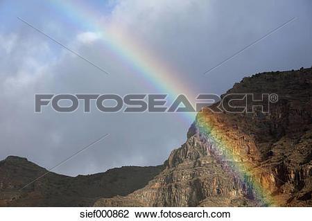 Stock Photo of Spain, Canary Islands, La Gomera, View of rainbow.