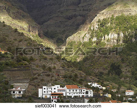 Stock Photography of Europe, Spain, View of Guada, Valle Gran Rey.