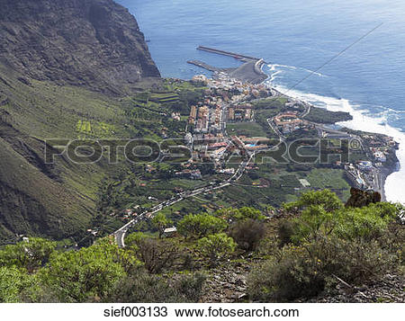 Stock Photo of Spain, La Gomera, View of Vueltas and La Puntilla.