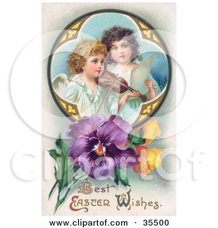 Clipart Illustration of a Young Victorian Easter Angel Carrying A.