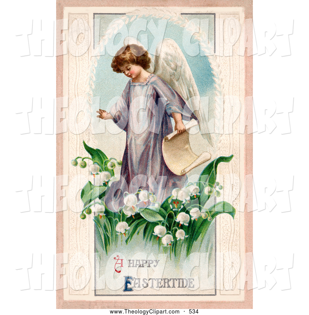 Clip Art of a Cute Young Victorian Easter Angel Carrying a Scroll.