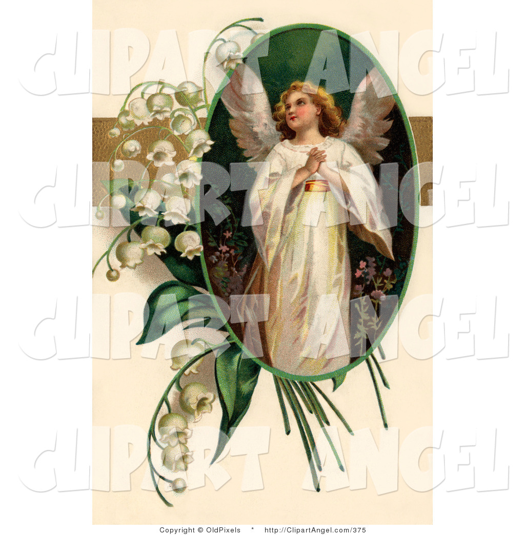 Illustration of a Sweet Beautiful Victorian Easter Angel Looking.