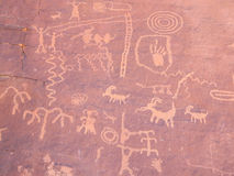 Valley Fire Petroglyphs Atlatl Rock Stock Illustrations.