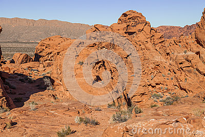 Rugged Valley Of Fire Landscape Stock Photo.