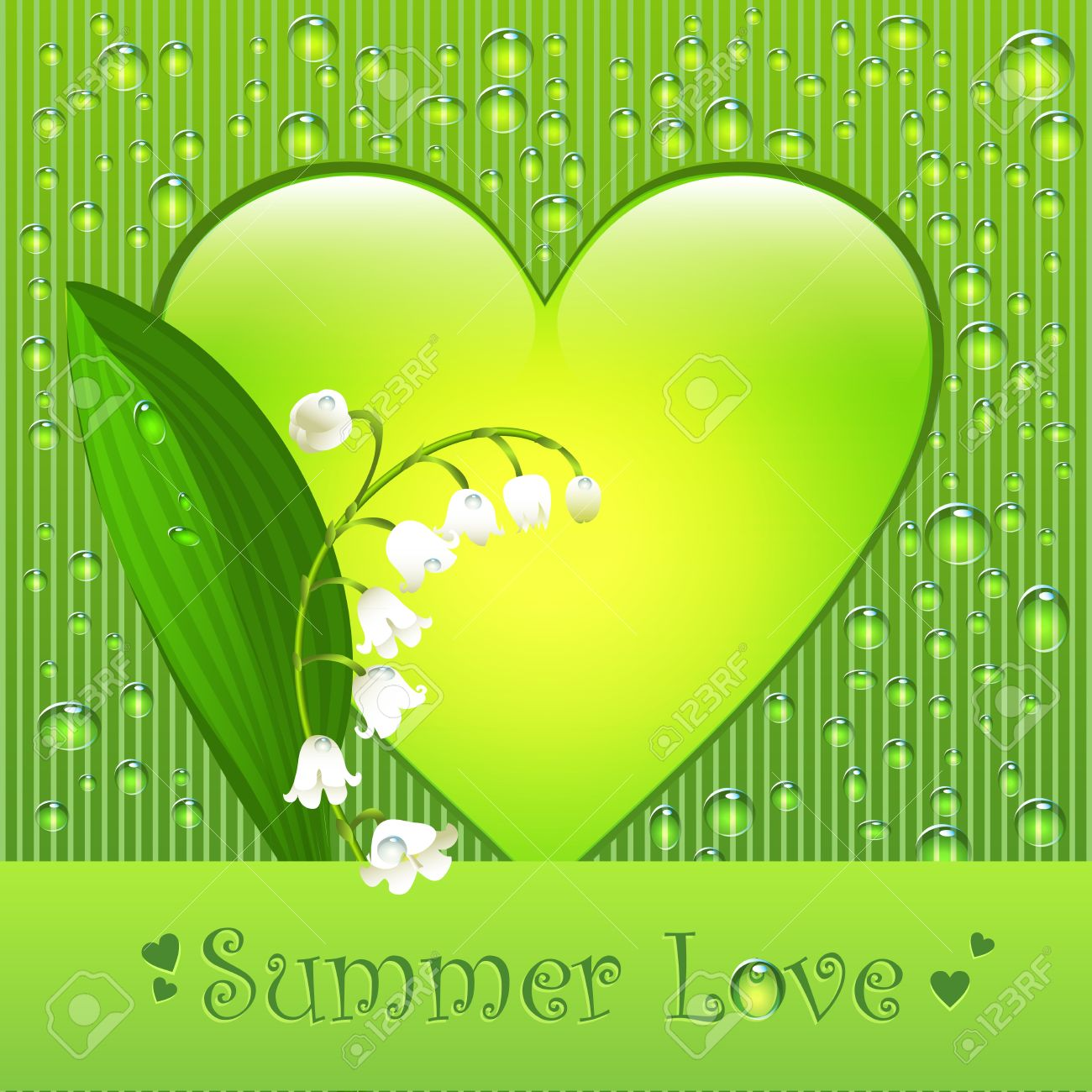 Summer Love Greeting Postcard With Lily Of The Valley Flower.