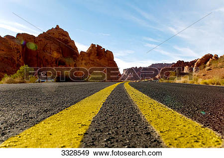 Stock Photograph of Street through Valley of Fire State Park.