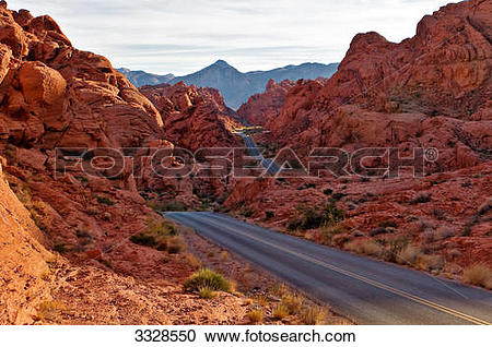Stock Photography of Street through Valley of Fire State Park.