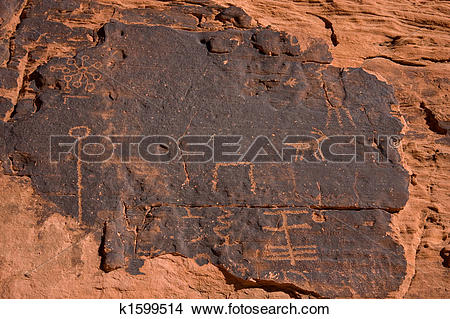 Stock Photo of The Valley of Fire Petroglyphs k1599514.