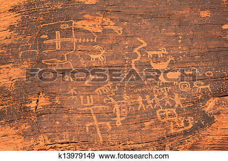 Stock Photograph of Petroglyphs in the Valley of Fire k13979149.