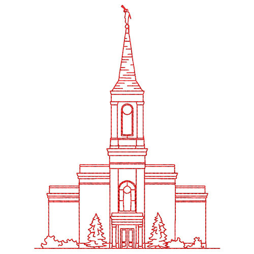 Star Valley Wyoming LDS Temple Redwork by TheEmbroideryDepot.