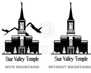 Temple Star Valley WY vinyl decal.