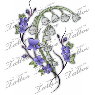 Marketplace Tattoo Lily of the Valley and Violets #3332.