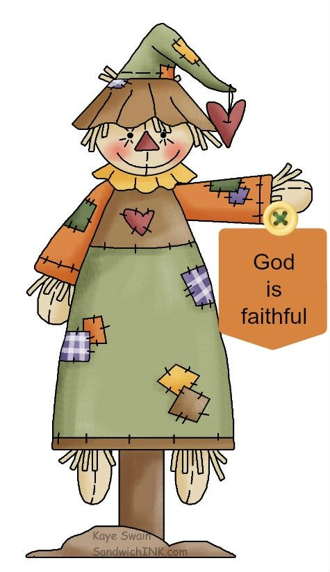 Cute autumn scarecrow country clipart for grandkids and trick or.