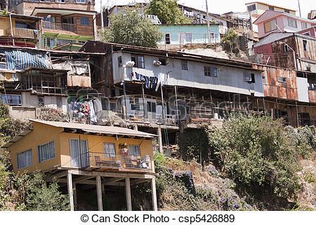Stock Photographs of Slums in Valparaiso.