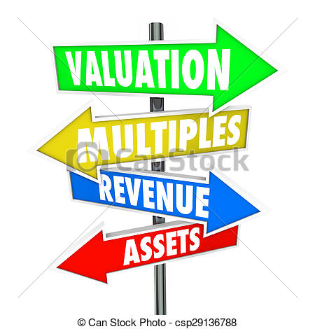 Stock Illustration of Valuation Multiples Revenues Assets Arrow.