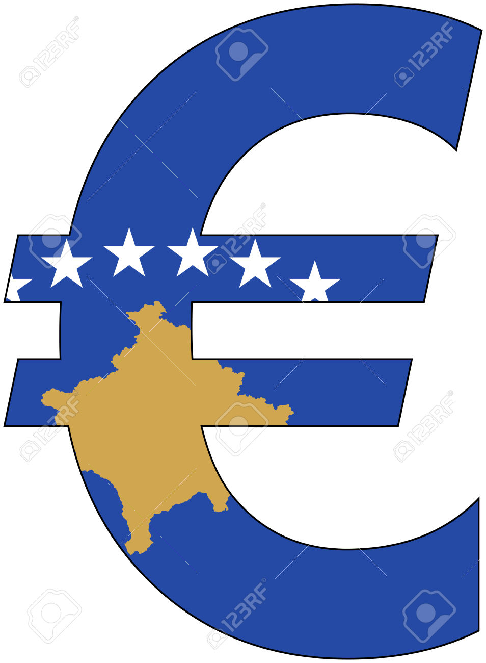 Euro With Flag Of Kosovo, Currency, Valuta, Anchor Currency.