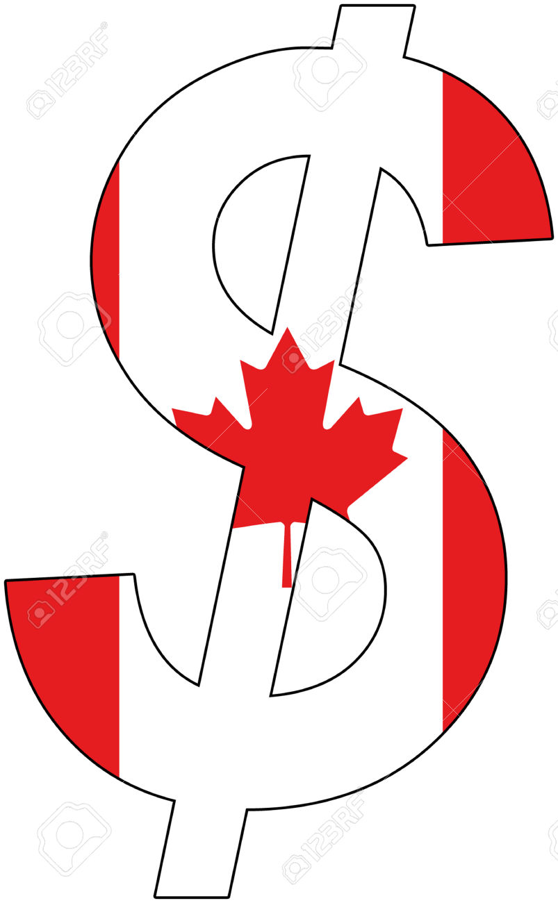 Dollar With Flag Of Canada, Currency, Valuta, Anchor Currency.