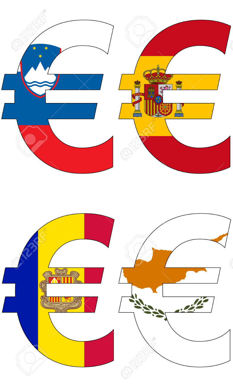Euro With Various Flags, Currency, Valuta, Anchor Currency Royalty.