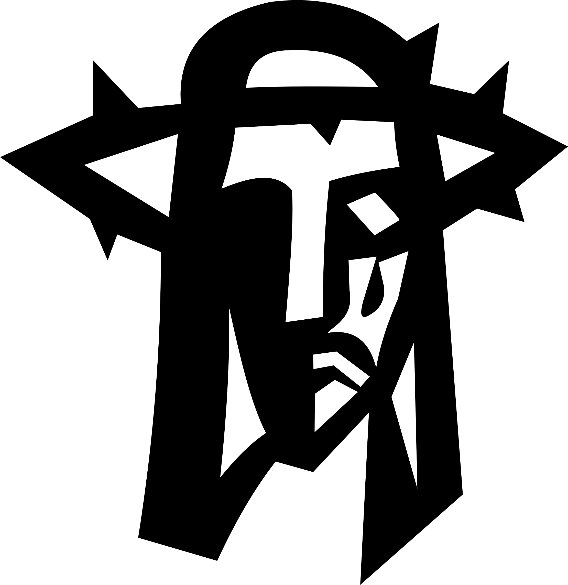Jesus on cross with crown of thorns clipart.