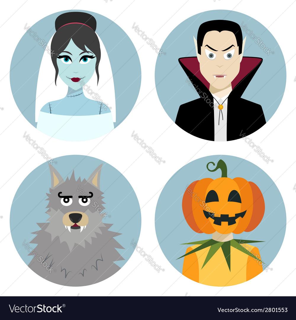 Halloween character set Vampire werewolf dead.