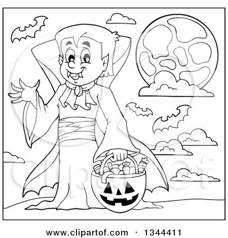 Lineart Clipart of a Cartoon Black and White Dracula Vampire.