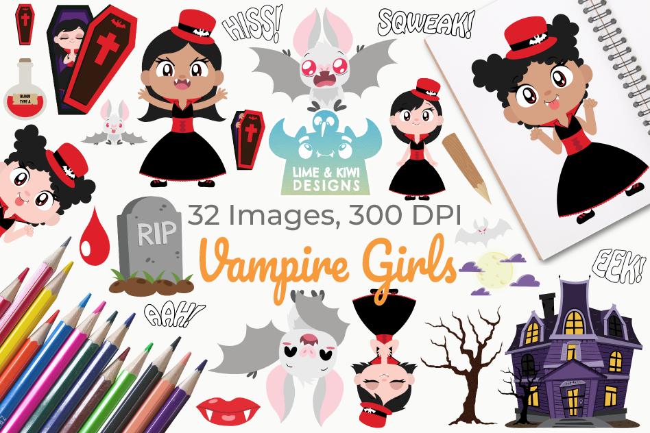 Vampire Girls Clipart, Instant Download Vector Art.