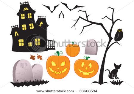 Halloween Pumpkins, Owl, Black Cat, Haunted House, Vampire.