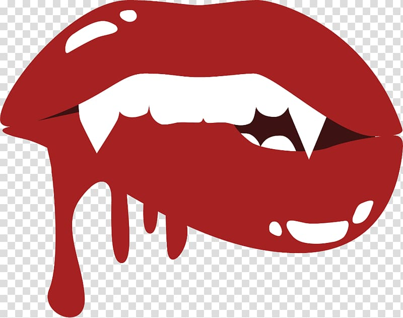 Red lips and white fangs illustration, Count Dracula Vampire.