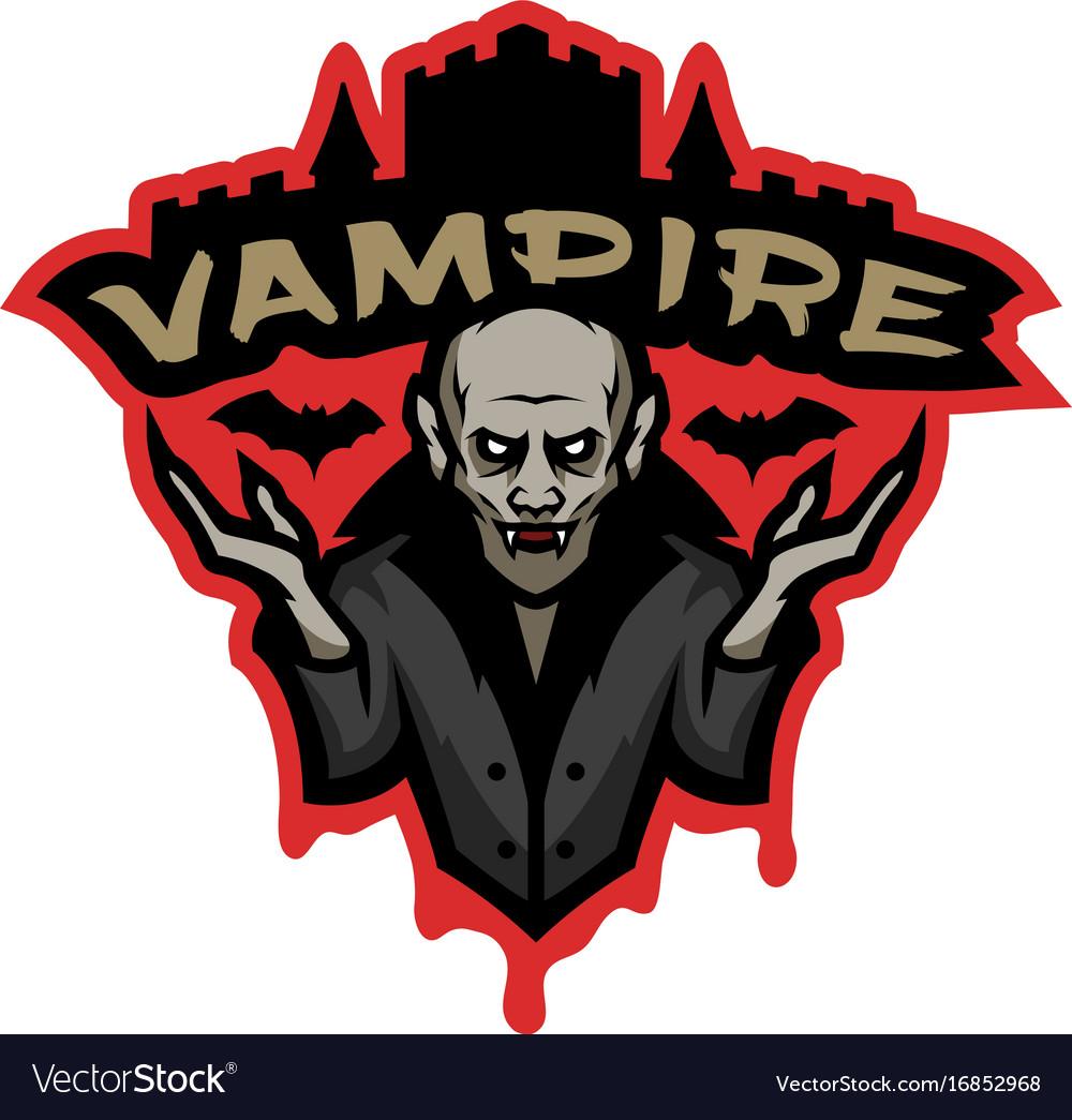 Vampire emblem on a dark background.