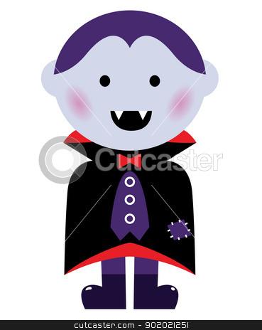 Cute Vampire boy isolated on white stock vector.